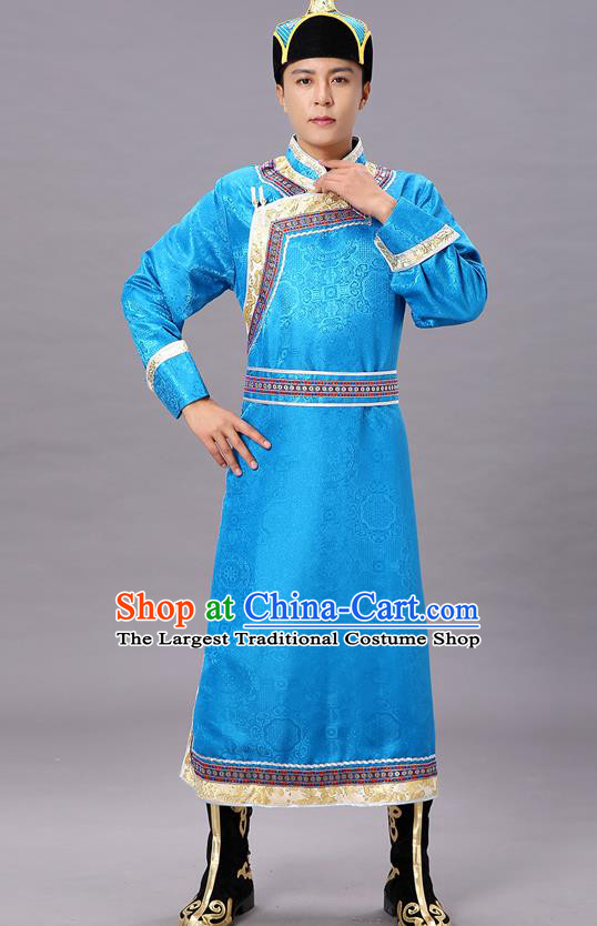 Chinese Traditional Ethnic Blue Brocade Mongolian Robe Dance Garment Mongol Minority Costume for Men