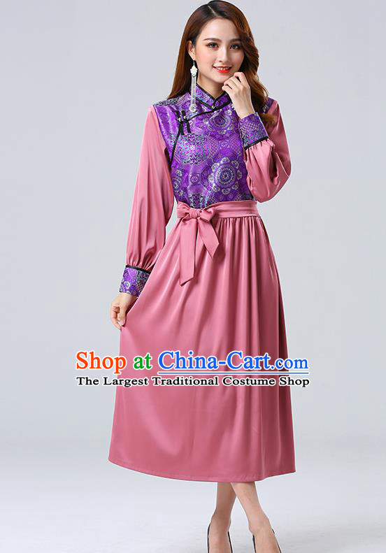 Traditional Chinese Mongol Minority Ethnic Costume Garment Mongolian Nationality Women Pink Dress Apparels