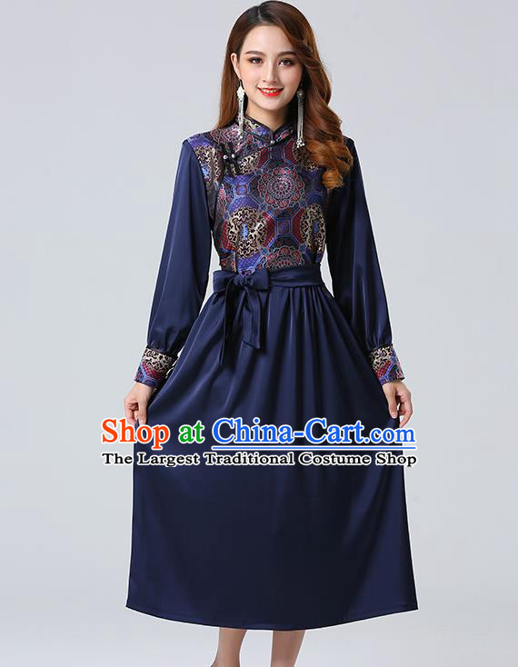 Traditional Chinese Mongol Minority Ethnic Costume Garment Mongolian Nationality Women Navy Dress Apparels