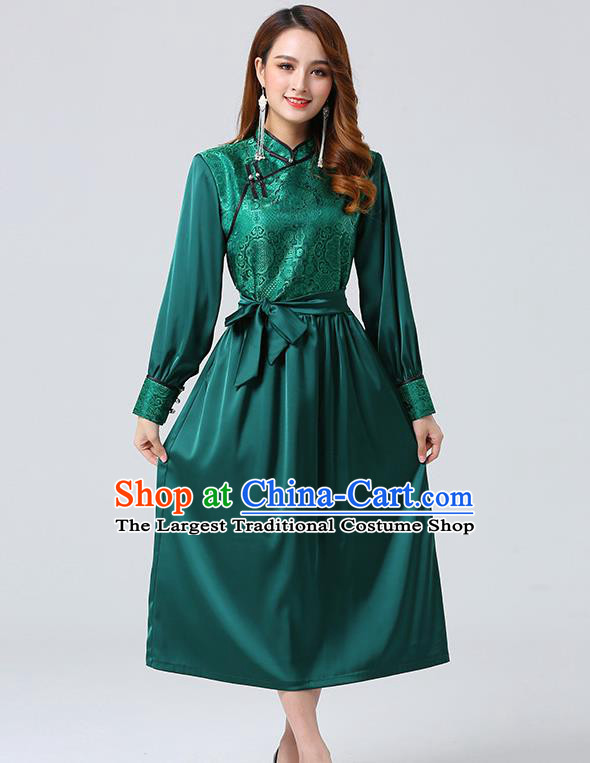 Traditional Chinese Mongol Minority Ethnic Costume Garment Mongolian Nationality Women Deep Green Dress Apparels
