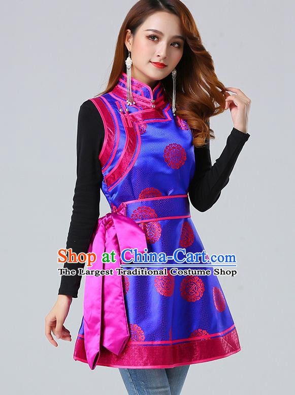 Traditional Chinese Mongol Minority Royalblue Brocade Vest Dress Ethnic Costume Mongolian Nationality Women Garment Apparels