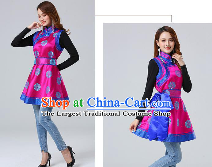 Traditional Chinese Mongol Minority Rosy Brocade Vest Dress Ethnic Costume Mongolian Nationality Women Garment Apparels