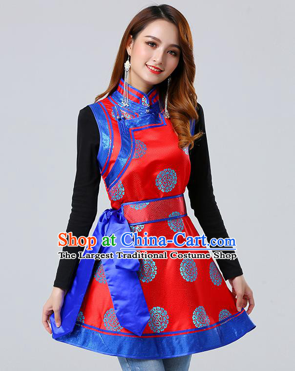 Traditional Chinese Mongol Minority Red Brocade Vest Dress Ethnic Costume Mongolian Nationality Women Garment Apparels