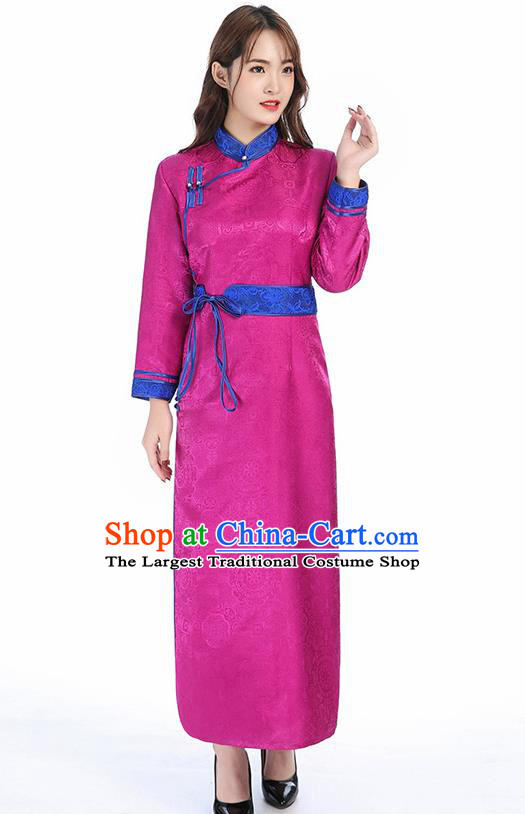 Traditional Chinese Mongol Minority Rosy Brocade Mongolian Robe Apparels Ethnic Costume Mongolian Nationality Women Garment Dress