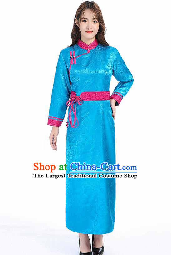 Traditional Chinese Mongol Minority Blue Brocade Mongolian Robe Apparels Ethnic Costume Mongolian Nationality Women Garment Dress