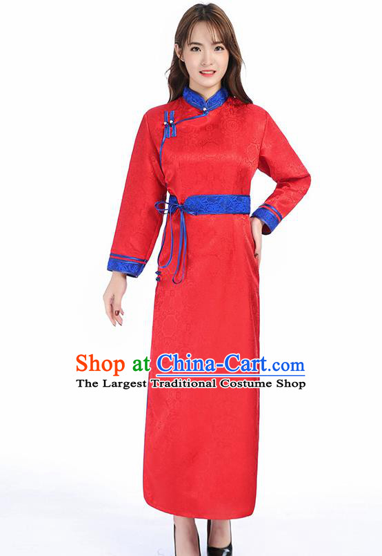 Traditional Chinese Mongol Minority Red Brocade Mongolian Robe Apparels Ethnic Costume Mongolian Nationality Women Garment Dress