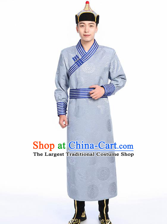 Chinese Traditional Ethnic Grey Mongolian Robe Mongolian Men Dance Garment Mongol Minority Stage Performance Costume