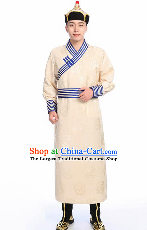 Chinese Traditional Ethnic Beige Mongolian Robe Mongolian Men Dance Garment Mongol Minority Stage Performance Costume