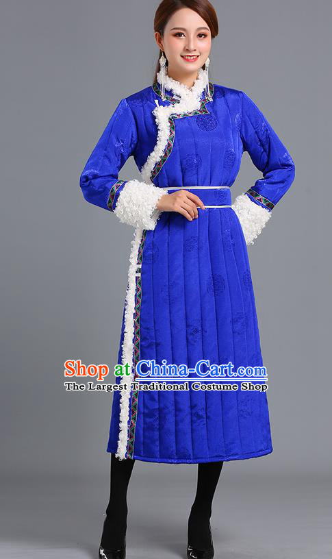 Traditional Chinese Mongol Minority Women Royalblue Mongolian Robe Apparels Ethnic Costume Mongolian Nationality Winter Garment