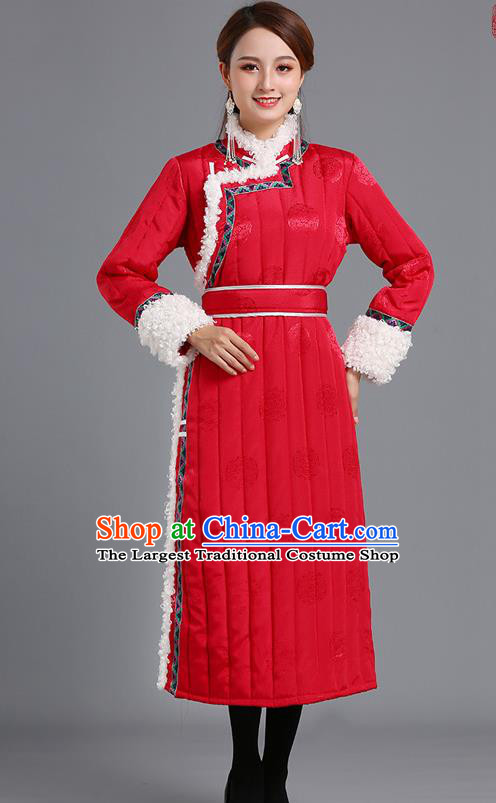 Traditional Chinese Mongol Minority Women Red Mongolian Robe Apparels Ethnic Costume Mongolian Nationality Winter Garment