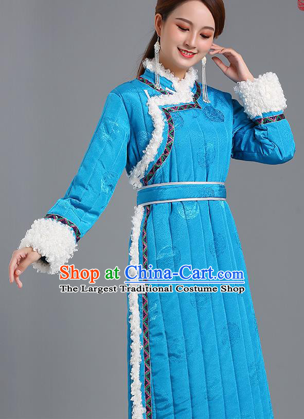 Traditional Chinese Mongol Minority Women Blue Mongolian Robe Apparels Ethnic Costume Mongolian Nationality Winter Garment