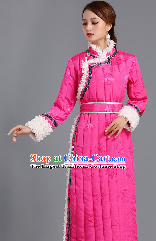 Traditional Chinese Mongol Minority Women Pink Mongolian Robe Apparels Ethnic Costume Mongolian Nationality Winter Garment