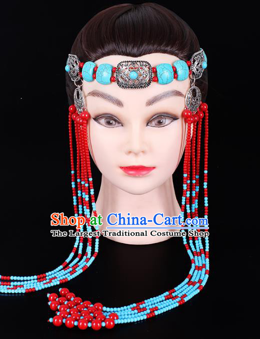 Traditional Chinese Mongol Minority Women Hair Accessories Mongolian Ethnic Dance Beads Tassel Hair Clasp