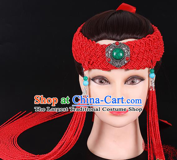 Traditional Chinese Mongol Minority Women Hair Accessories Mongolian Ethnic Dance Red Beads Tassel Hair Clasp