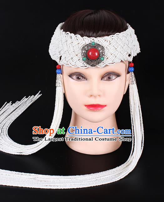 Traditional Chinese Mongol Minority Women Hair Accessories Mongolian Ethnic Dance White Beads Tassel Hair Clasp