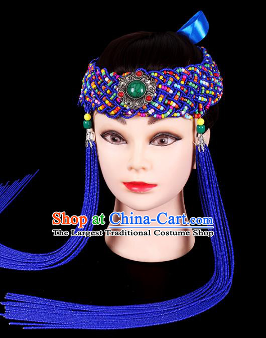 Traditional Chinese Mongol Minority Women Hair Accessories Mongolian Ethnic Dance Royalblue Beads Tassel Hair Clasp