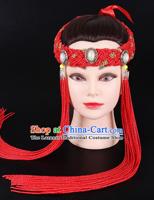 Traditional Chinese Mongol Minority Red Beads Tassel Hair Accessories Mongolian Ethnic Women Dance Hair Clasp