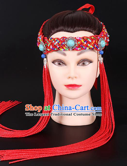 Traditional Chinese Mongol Minority Red Beads Tassel Headband Mongolian Ethnic Women Dance Hair Clasp Hair Accessories