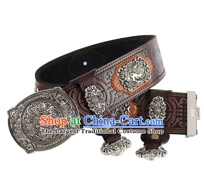 Traditional Chinese Mongol Minority Brown Leather Belt Mongolian Ethnic Folk Dance Waistband for Men