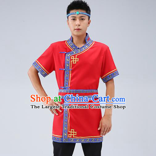 Chinese Traditional Ethnic Red Short Sleeve Shirt Mongolian Dance Upper Outer Garment Mongol Minority Men Costume