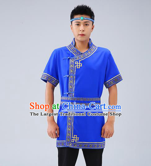 Chinese Traditional Ethnic Royalblue Short Sleeve Shirt Mongolian Dance Upper Outer Garment Mongol Minority Men Costume
