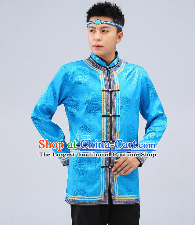 Chinese Traditional Mongolian Men Blue Brocade Shirt Mongol Minority Costume Ethnic Dance Upper Outer Garment