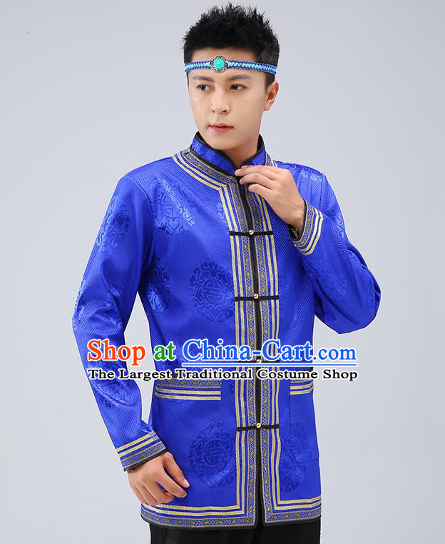 Chinese Traditional Mongolian Men Royalblue Brocade Shirt Mongol Minority Costume Ethnic Dance Upper Outer Garment