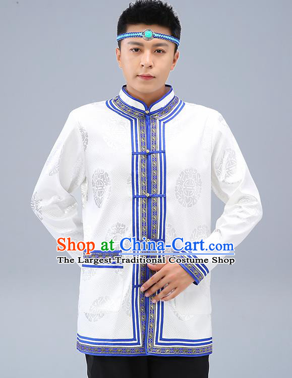Chinese Traditional Mongolian Men White Brocade Shirt Mongol Minority Costume Ethnic Dance Upper Outer Garment