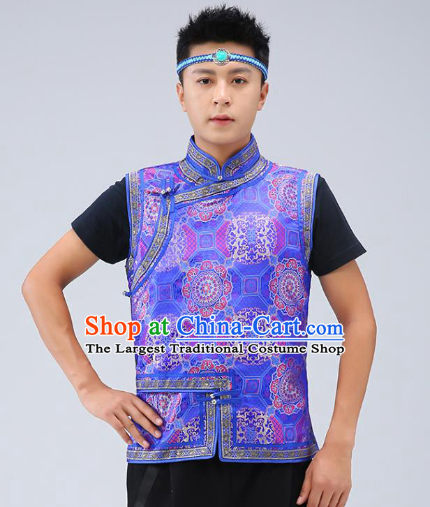 Chinese Traditional Mongol Minority Royalblue Brocade Vest Mongolian Costume Ethnic Men Upper Outer Garment Waistcoat