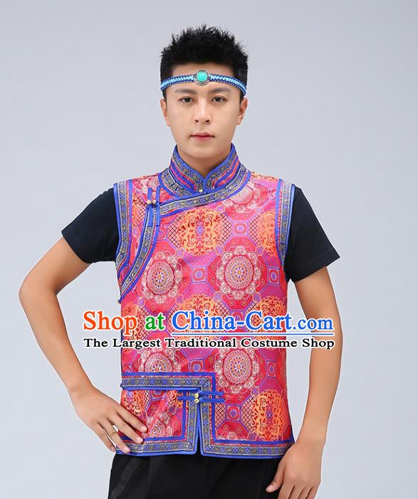 Chinese Traditional Mongol Minority Red Brocade Vest Mongolian Costume Ethnic Men Upper Outer Garment Waistcoat