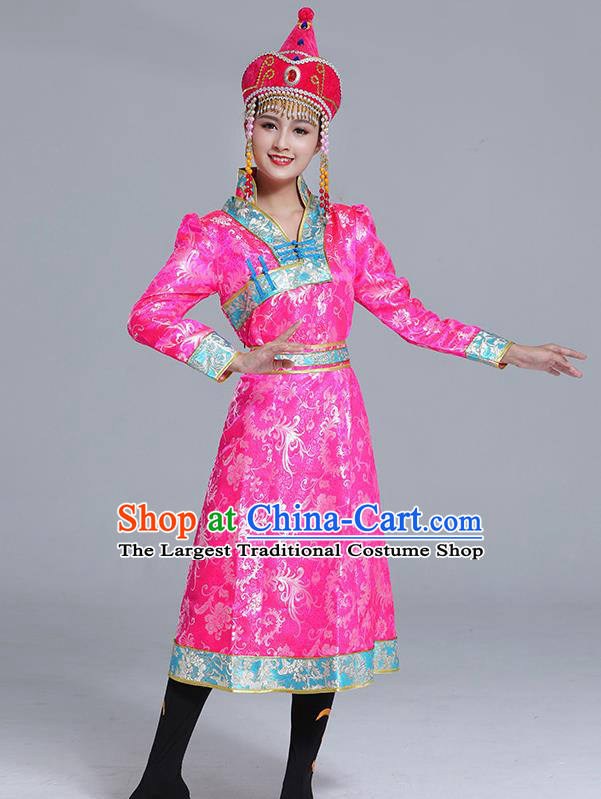 Traditional Chinese Ethnic Women Pink Brocade Mongolian Robe Dance Apparels Mongol Minority Dress Garment Nationality Costume
