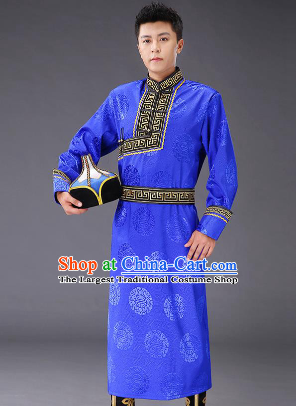 Chinese Traditional Mongol Minority Men Royalblue Mongolian Robe Costume Ethnic Stage Performance Garment