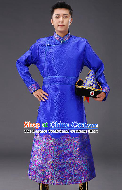 Chinese Traditional Mongol Minority Men Costume Ethnic Stage Performance Garment Royalblue Brocade Mongolian Robe