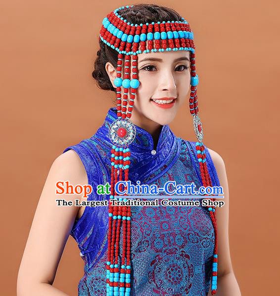Traditional Chinese Mongol Minority Beads Long Tassel Headband Mongolian Ethnic Women Dance Hair Clasp Hair Accessories