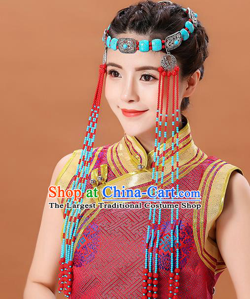 Traditional Chinese Mongol Minority Women Beads Long Tassel Headband Mongolian Hair Accessories Ethnic Dance Hair Clasp