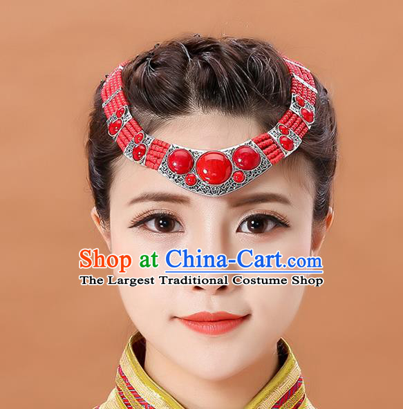 Traditional Chinese Mongol Minority Dance Red Headband Mongolian Hair Accessories Ethnic Hair Clasp for Women