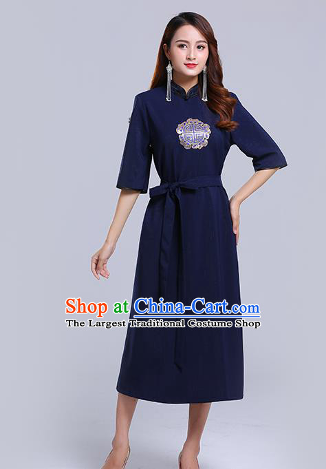 Traditional Chinese Ethnic Women Navy Informal Dress Mongol Minority Garment Mongolian Nationality Apparels Costume