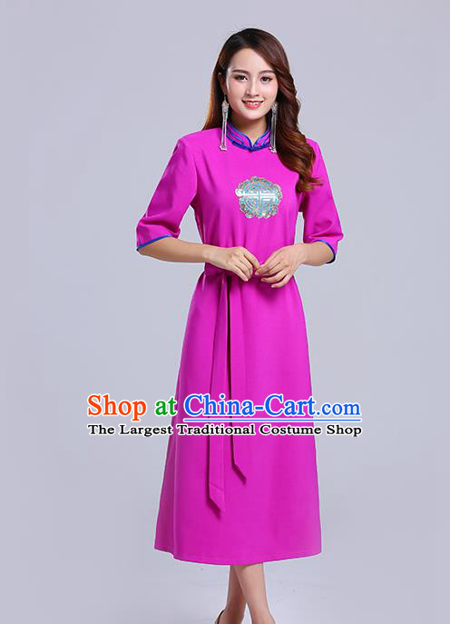 Traditional Chinese Ethnic Women Rosy Informal Dress Mongol Minority Garment Mongolian Nationality Apparels Costume