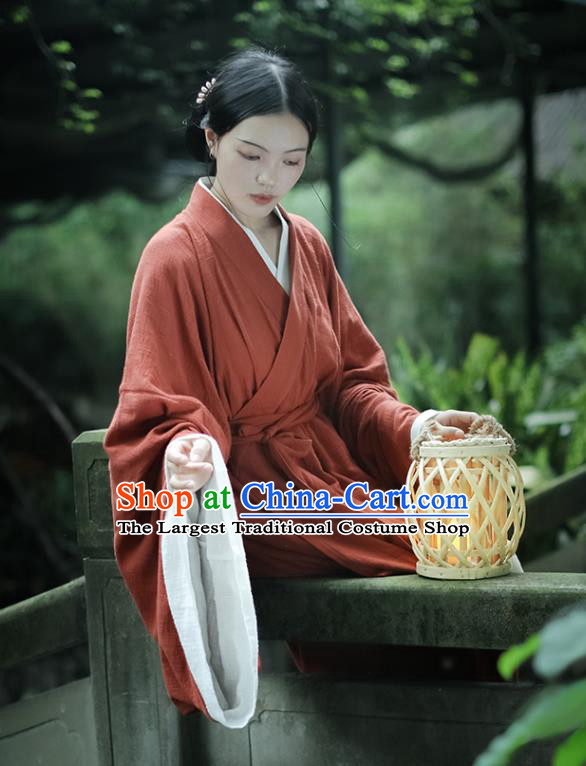 Chinese Traditional Ancient Palace Woman Garment Jin Dynasty Imperial Consort Red Flax Dress Hanfu Costumes
