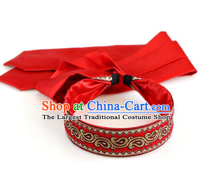 Traditional Chinese Ethnic Red Silk Ribbon Hair Clasp Mongol Minority Headband Mongolian Dance Hair Accessories