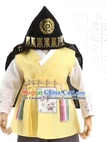 Asian Korea Traditional Embroidered Yellow Shirt and Pants Children Birthday Fashion Korean Apparels Boys Hanbok Costumes for Kids