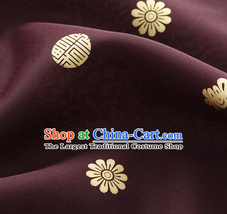 Asian Korea Traditional Longevity Chrysanthemum Pattern Purplish Red Silk Fabric Korean Fashion Hanbok Material