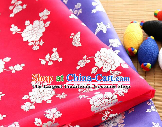 Asian Korea Classical Peony Pattern Red Silk Fabric Korean Traditional Fashion Drapery Hanbok Material