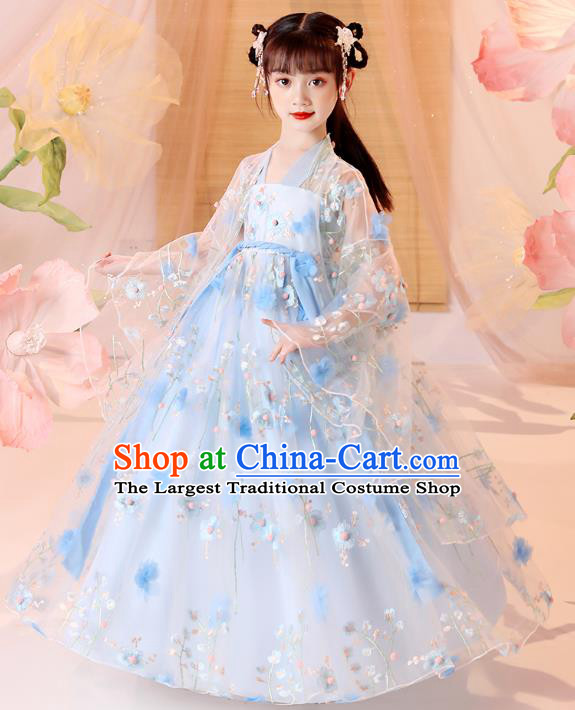Chinese Traditional Blue Hanfu Dress Ancient Song Dynasty Girl Costumes Stage Show Apparels for Kids