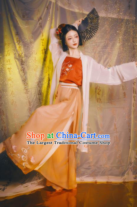 Chinese Ancient Female Civilian Costumes Traditional Hanfu Song Dynasty Apparels BeiZi Top And Pants Full Set