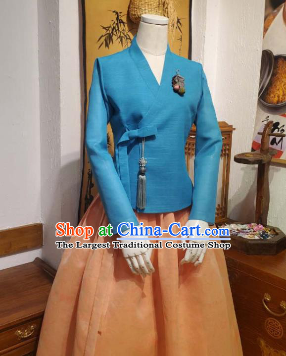 Korean Women Traditional Blue Blouse and Orange Dress Asian Korea National Fashion Costumes Hanbok Informal Apparels