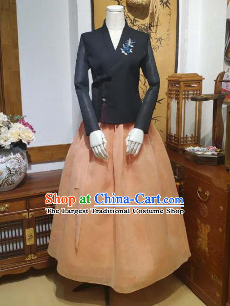 Korean Women Traditional Black Blouse and Orange Dress Asian Korea National Fashion Costumes Hanbok Informal Apparels