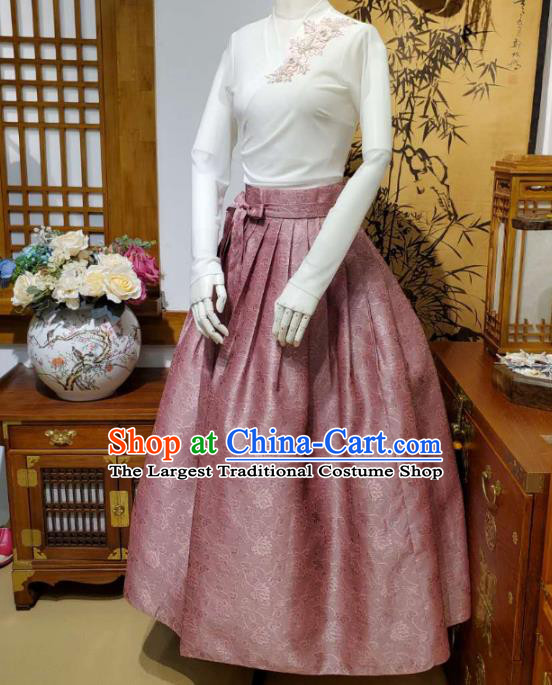 Korean Traditional Dance Blouse and Pink Bust Skirt Asian Korea National Fashion Costumes Women Hanbok Apparels