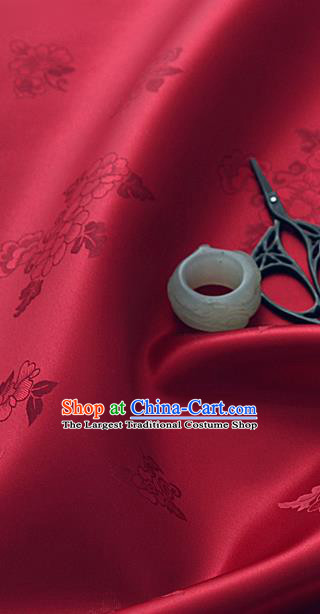 Traditional Korean Classical Roses Pattern Wine Red Satin Drapery Hanbok Material Asian Korea Fashion Silk Fabric