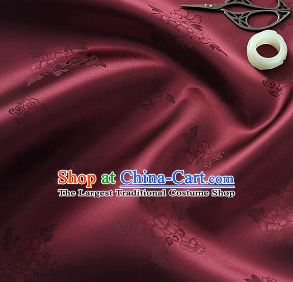 Traditional Korean Classical Roses Pattern Purplish Red Satin Drapery Hanbok Material Asian Korea Fashion Silk Fabric